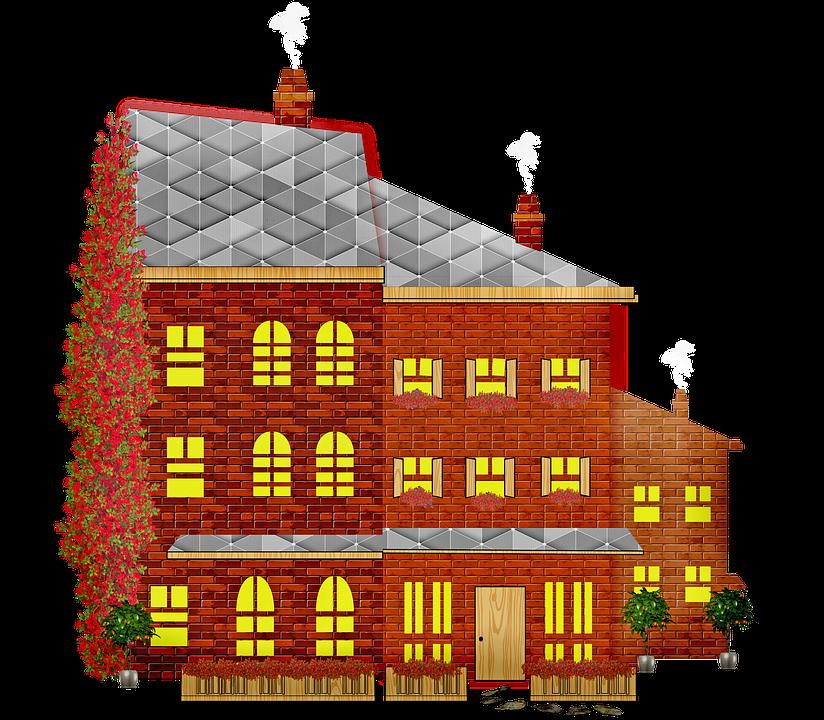 Brick House, Windows, House, Plants, Yard, Chimney