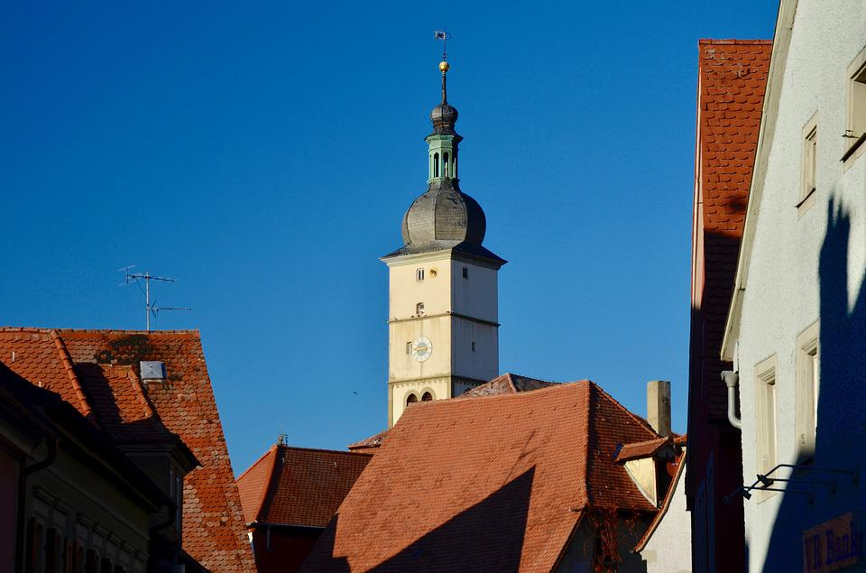 Steeple, Village, Church, House Roofs, Architecture