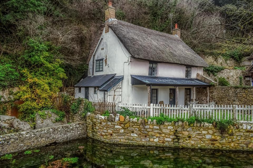 House, Cottage, Rural, Building, Home, Pond, Garden