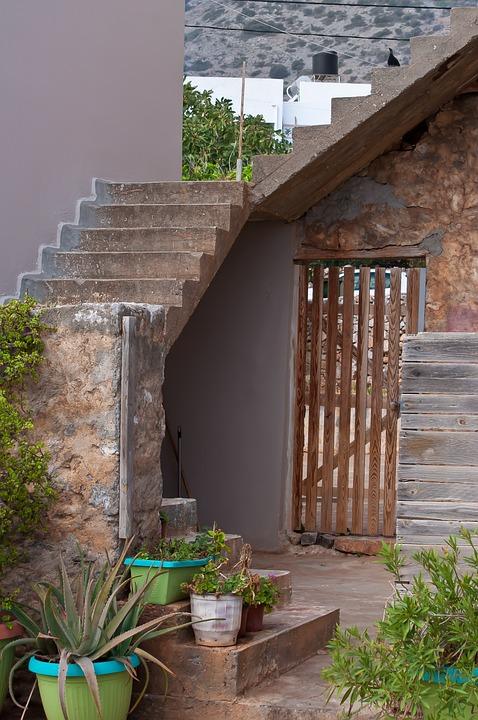 Greece, Crete, Input, Stairs, House, Garden, Front Yard