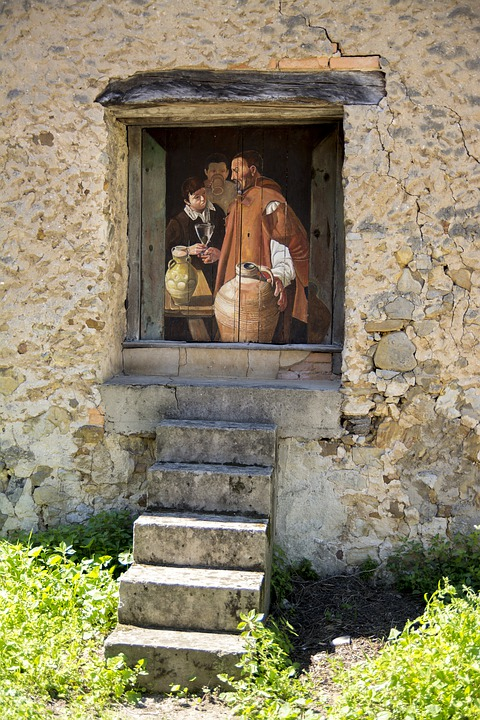 House, Old, Wall, Window, Picture, Village, Artist