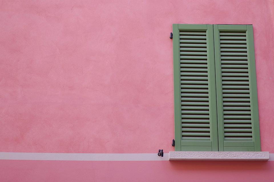 Shutters, Window, Pink, Wall, House, Architecture