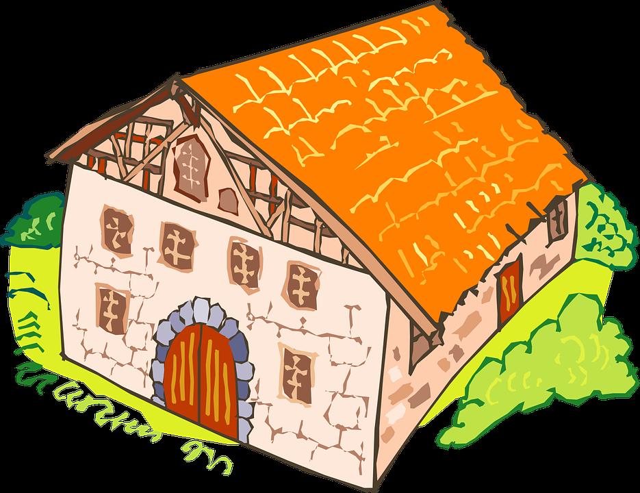 House, Brick, Large, Orange, Windows, Door, Bushes