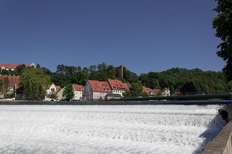 River, Barrages, Lech, Bridge, Houses, Architecture