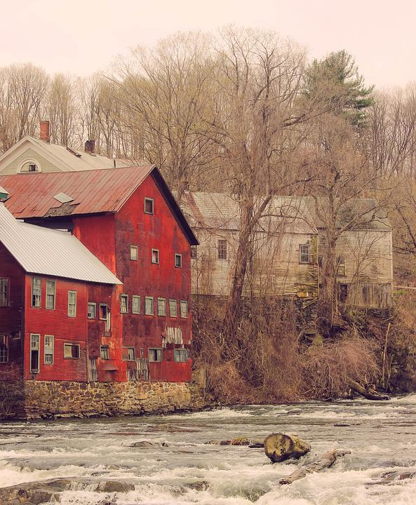 Building, Houses, Log, Outdoors, Rapids, River, Trees