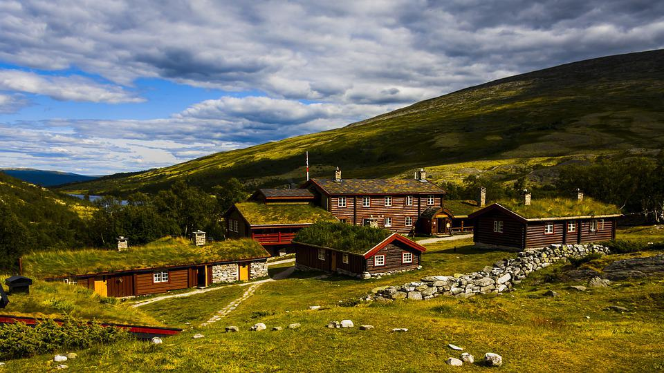 Houses, Mountain, Bjørnhollia, Field, Countryside