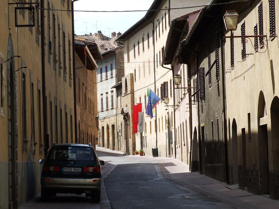 Countryside, Italian, Street, Narrow, Houses, Siena