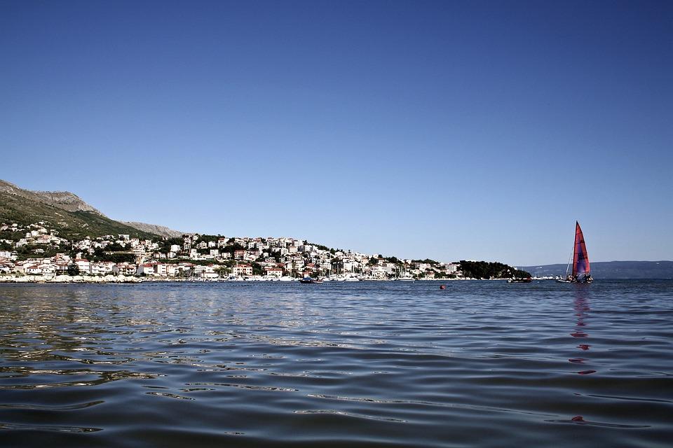 Sea, Sky, Beach, Water, City, Houses, Croatia