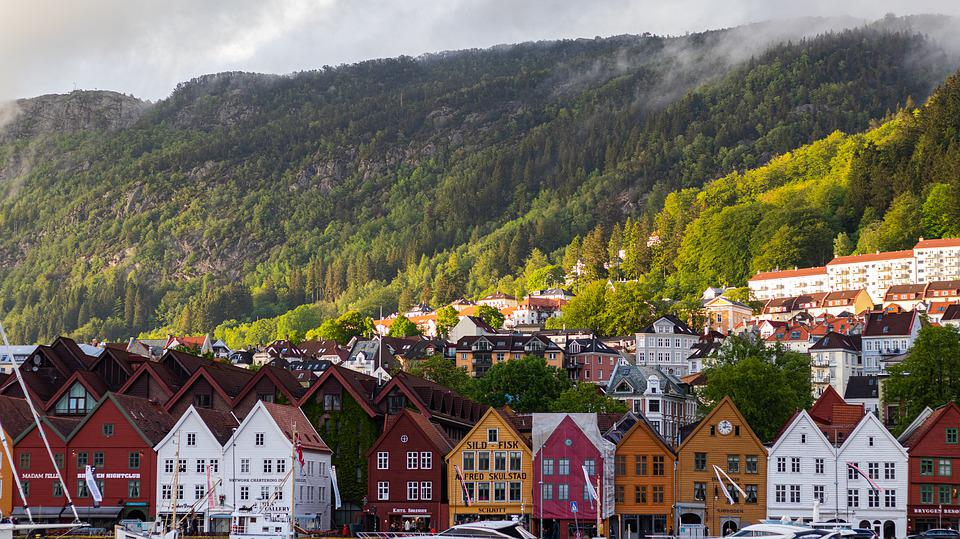 Norway, Mountains, Houses, Port, City, Water, Forest