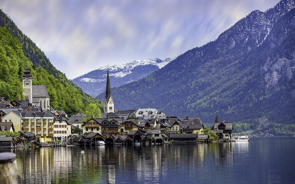 Houses, Buildings, Village, Homes, River, Mountains