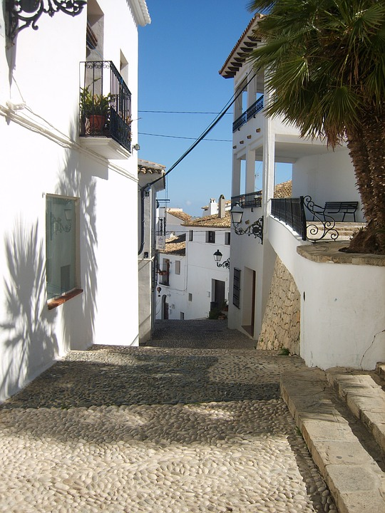 Altea, Street, Spain, City, Trap, Houses, Town