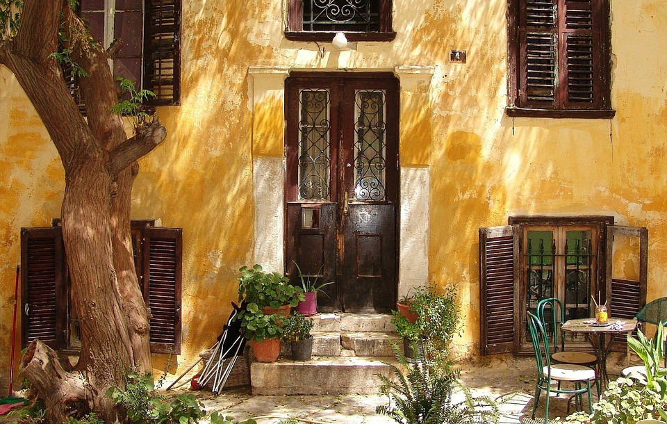 Hellas, Athens, Facade, Building, Home, Housewife, Door