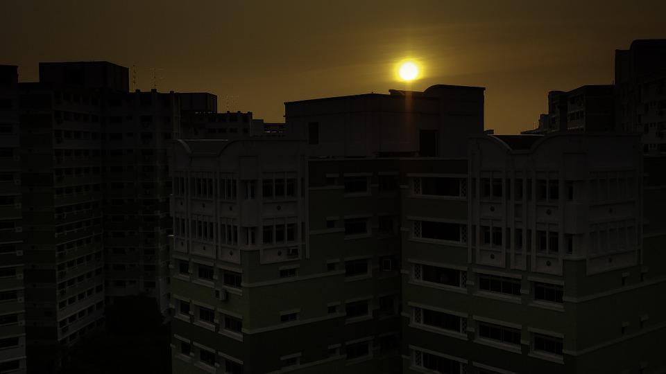 Sunset, Singapore, Housing, Dawn, Blocks, Sun, Building