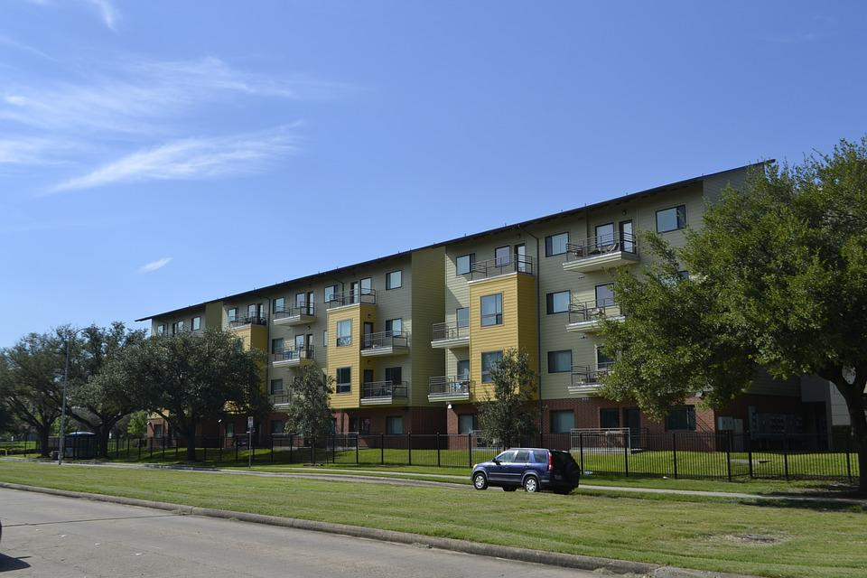 Houston Texas Apartment Complex, Grass, Blue Sky