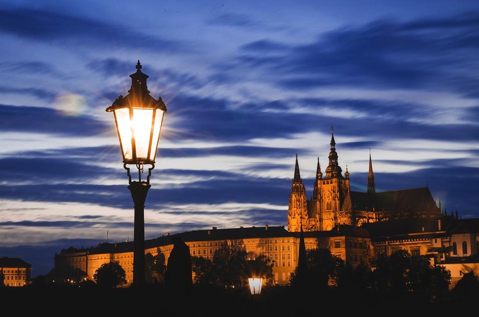 Hradcany, Prague, Lantern, Castle, Night, Evening, Sky