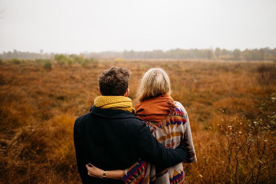 Grass, Outdoor, Field, People, Man, Woman, Hug, Couple