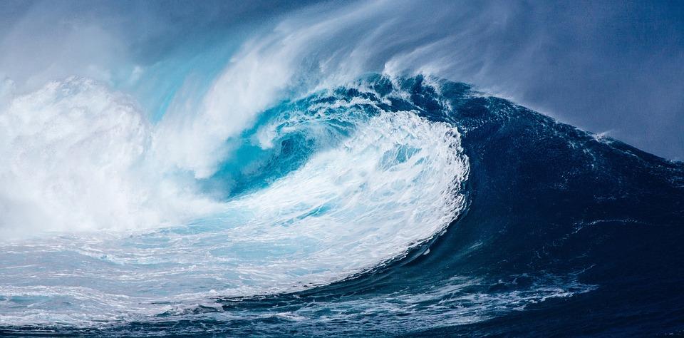 Wave, Atlantic, Pacific, Ocean, Huge, Large, Blue