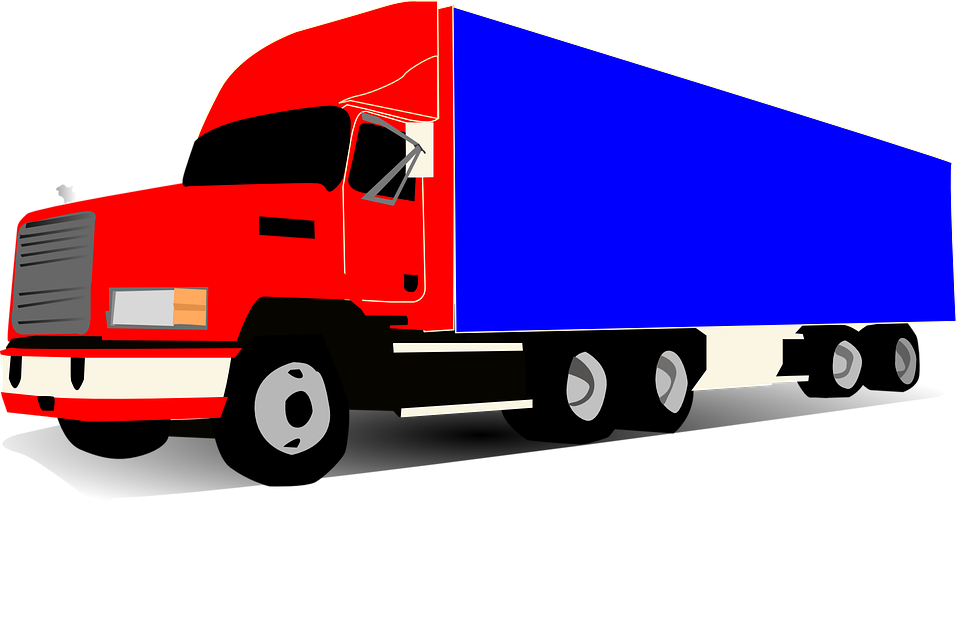 Truck, Wheeler, Trucker, Blue, Red, Huge