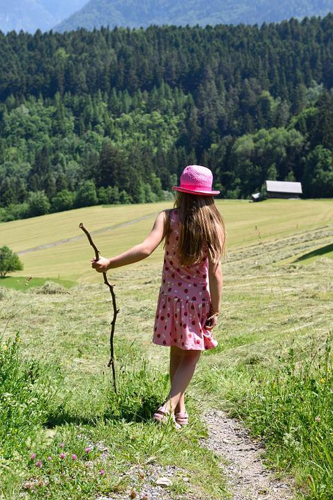 Person, Human, Child, Girl, Hiking, Trail, Meadow