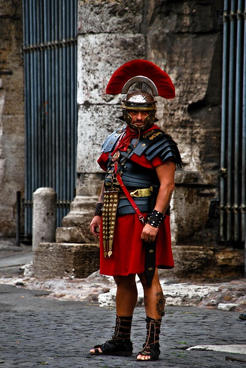 Costume, Roman, Warrior, Red, Man, Human, Old, Times