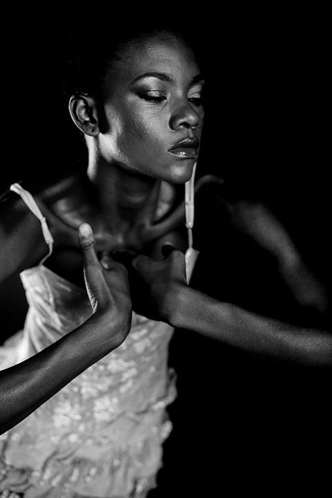 Woman, Black, Dark, Model, Face, Human, Black And White
