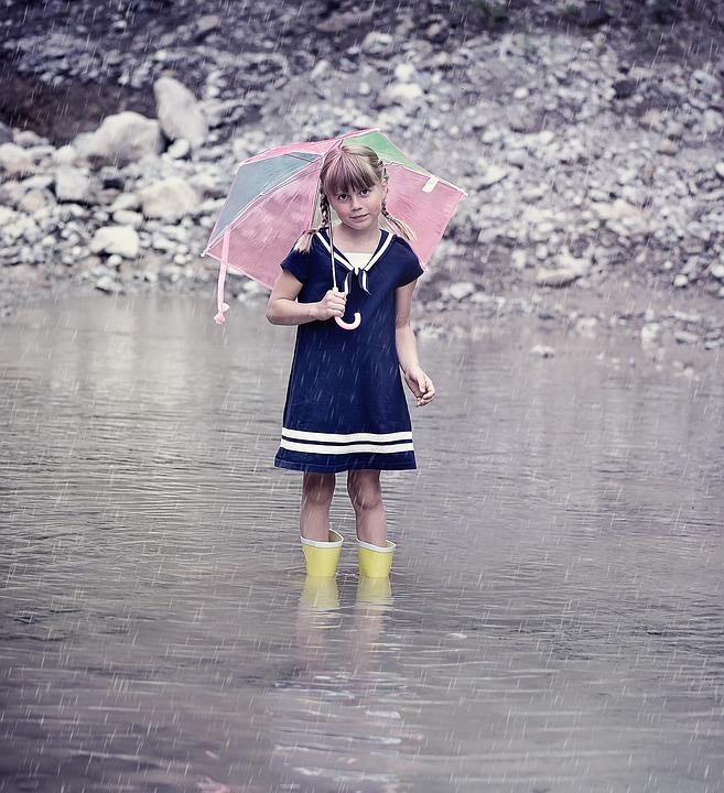 Person, Human, Child, Girl, Water, Rain, Screen