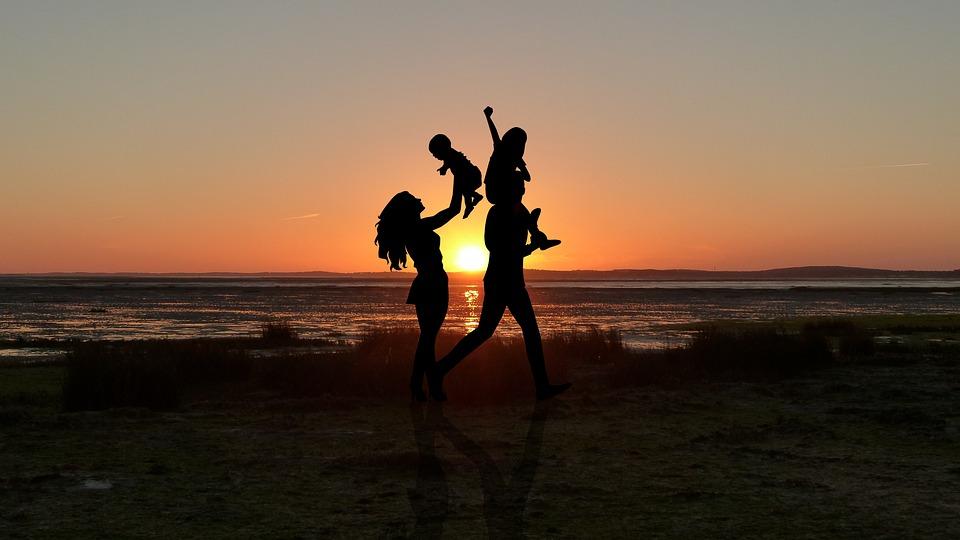 Sunset, Couple, Child, Romance, Romantic, Set, Human