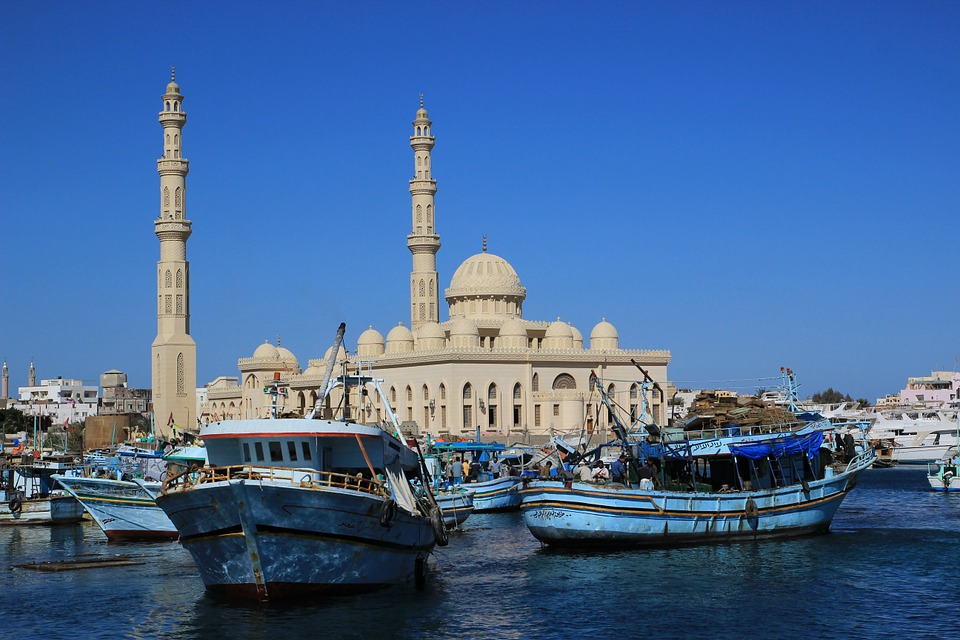 Egypt, Hurghada, Red Sea, Port, Mosque