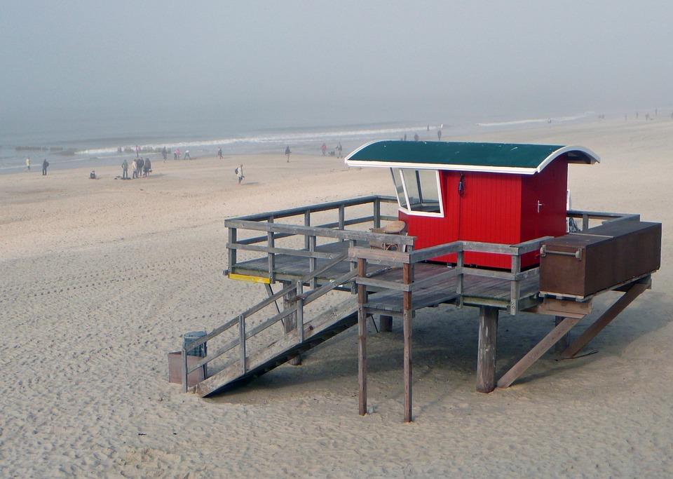 Beach, Hut, Supervision, North Sea, Viewpoint