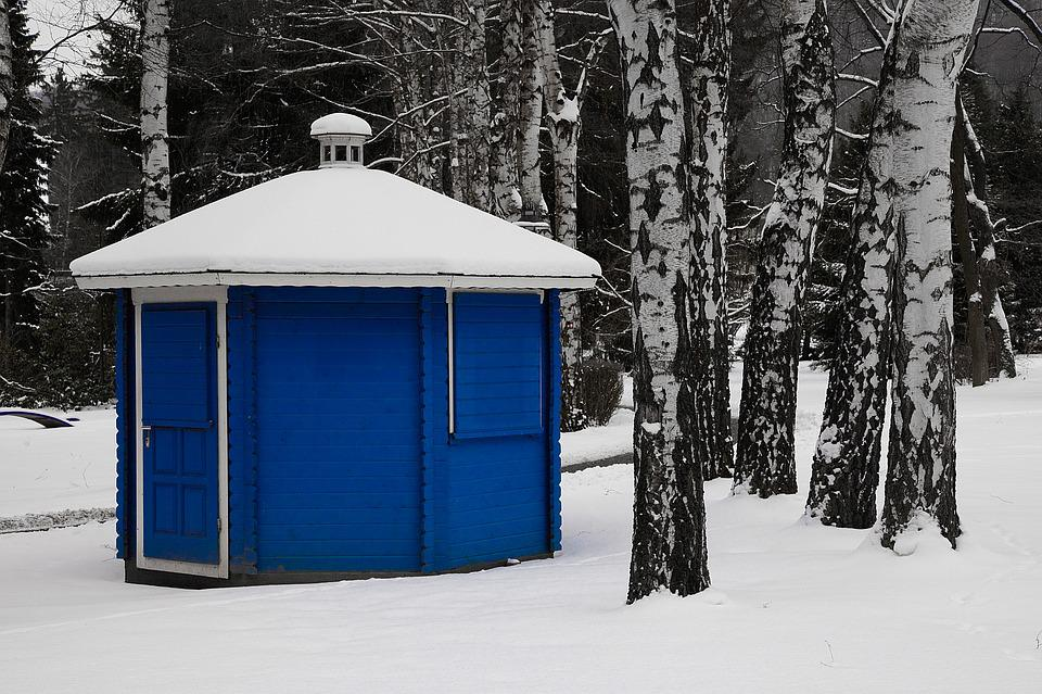 Blue, Hut, Winter, Closed, Snow, White, Vacation