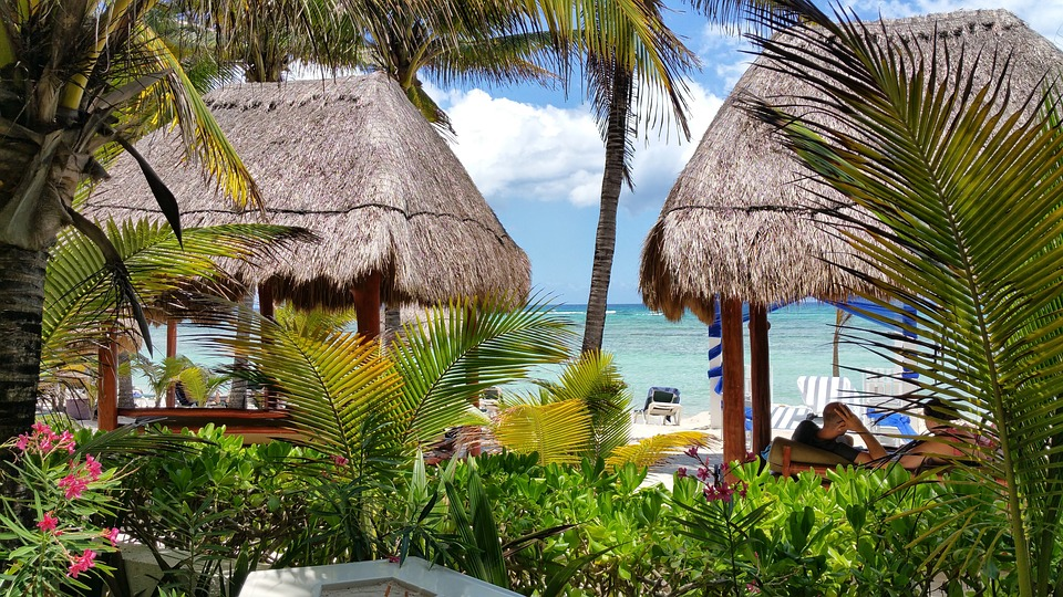 Beach, Mexico, Hotel, Resort, Thatch, Hut, Palms