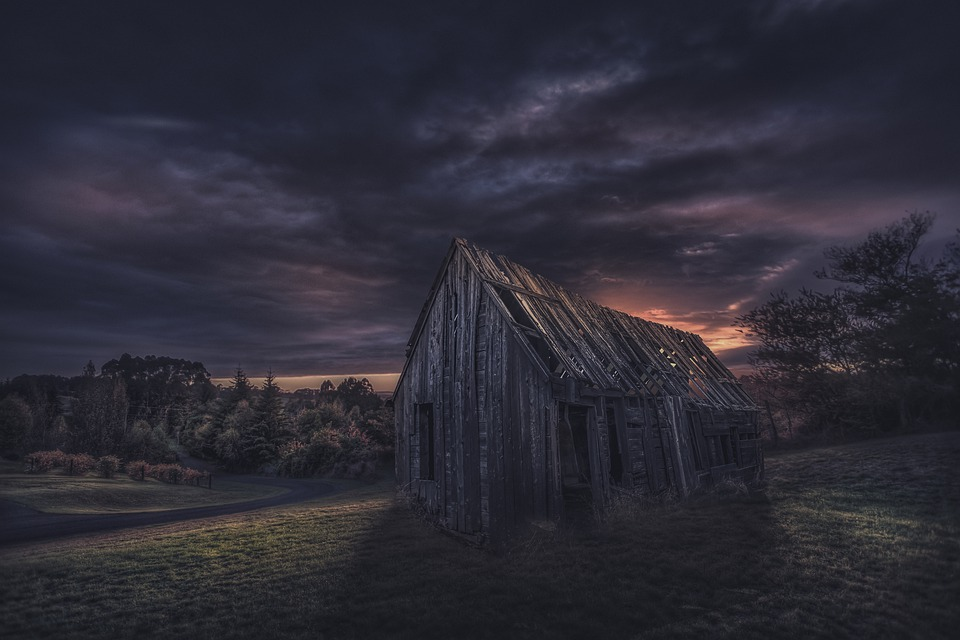 Hut, Abendstimmung, Landscape, Sunset, Romantic, Mood