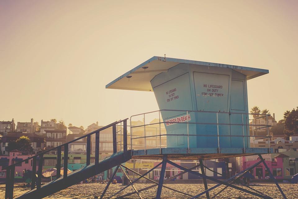 Lifeguard, Hut, Beach, Sand, Summer, Sunset, Sky