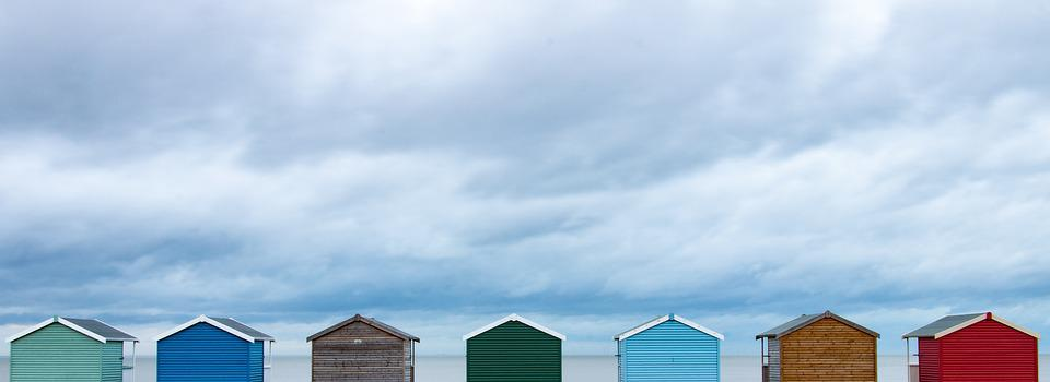 Sky, Storm, Huts, Colour, Clouds, Landscape, Beach