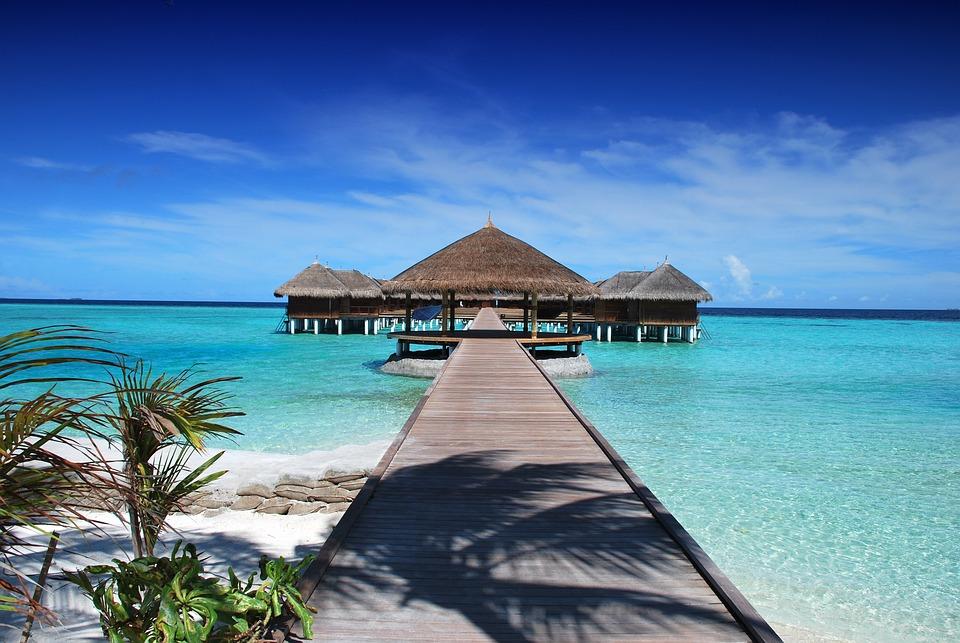 Beach, Resort, Jetty, Pier, Boardwalk, Huts, Maldives