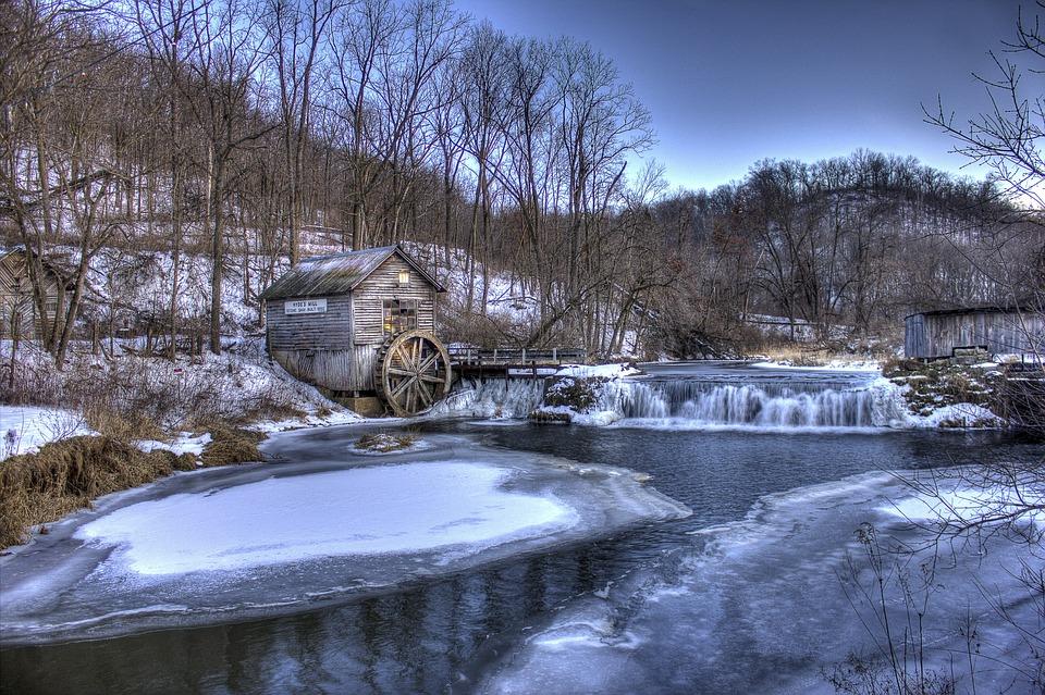 Winter, Mill, Wisconsin, Hyde, Landscape Scenic