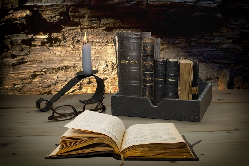 Bible, Hymnal, Still Life, Table, Candle, Wood, Light