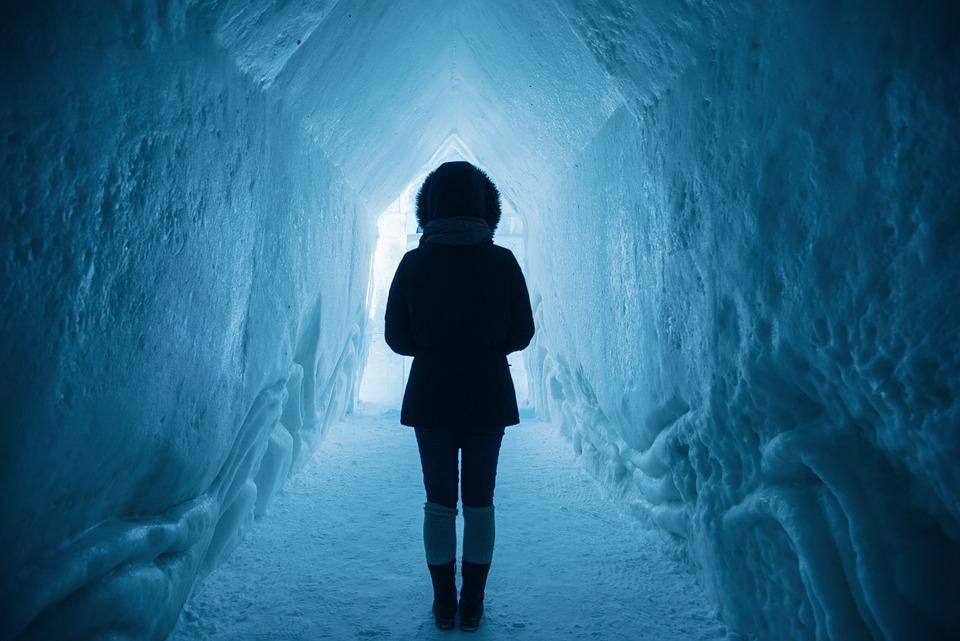 Woman, Adventure, Ice Cave, Cold, Exploration, Frozen