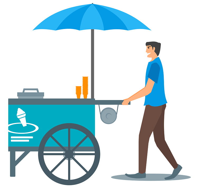 Ice Cream, Cone, Cart, Umbrella, Ice Cream Cone, Vendor