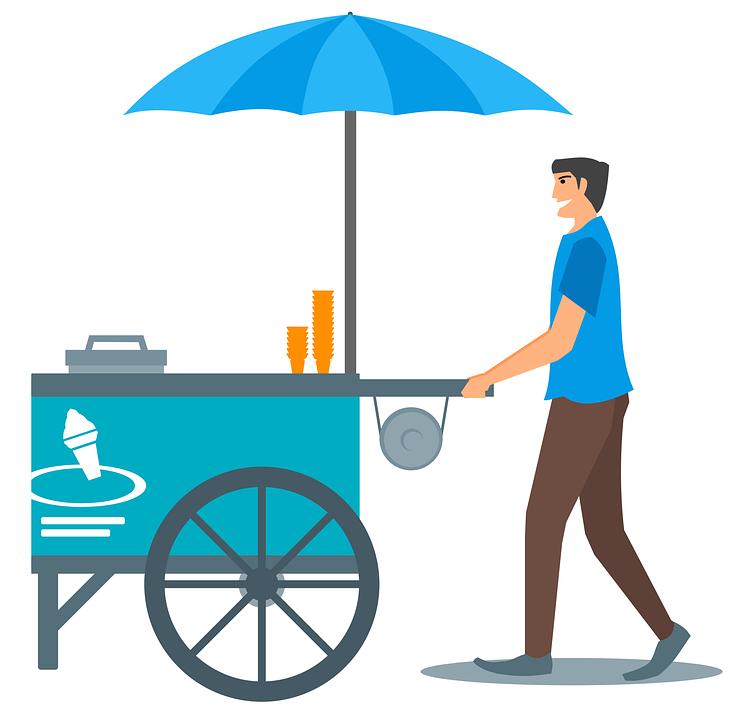 Ice Cream, Cone, Cart, Umbrella, Ice Cream Cone, Vendor