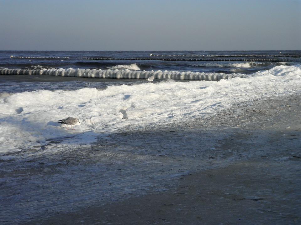 Baltic Sea, Winter, Ice, Groynes With Ice, Ice Edge
