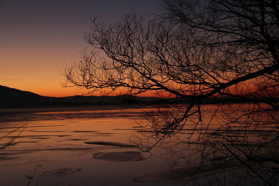 Lake, Winter, Evening, Sunset, Ice, Cold, Water