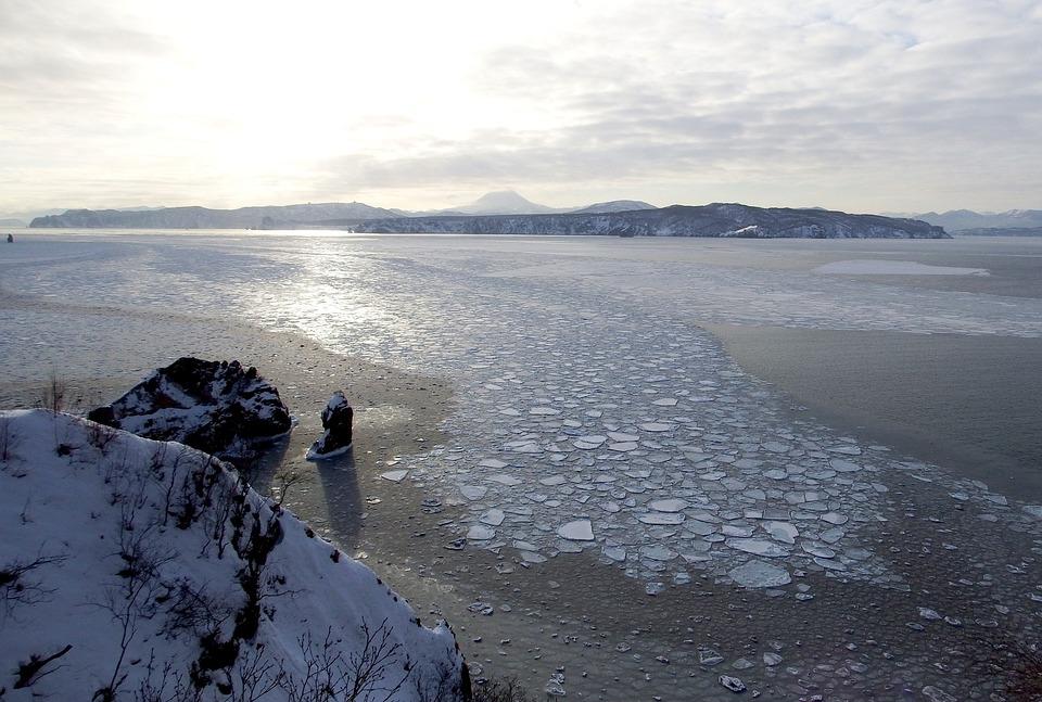 Ocean, Bay, Ice Floes, Beach, Coast, Cape, Mountains