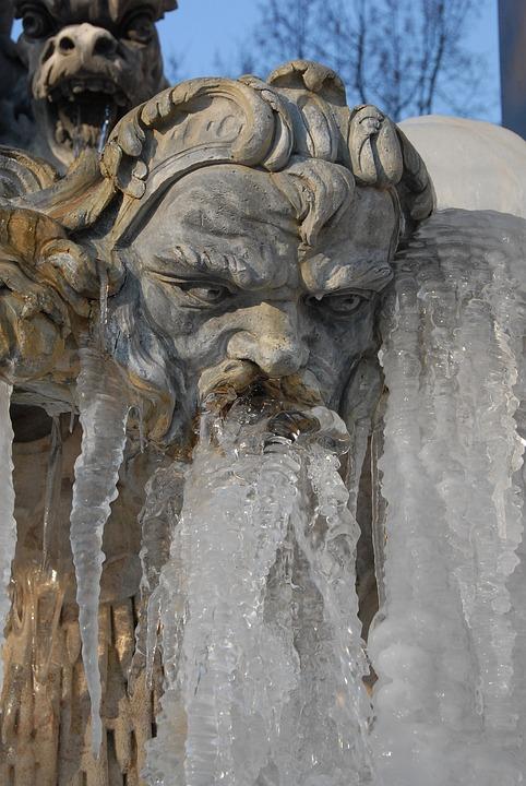 Fountain, Statue, Neptune, Face, Ice, Gel, Winter, Cold