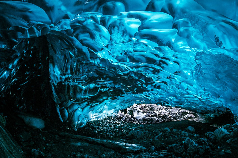 Ice, Frozen, Water, Glowing, Glacier, Rocks, Blue