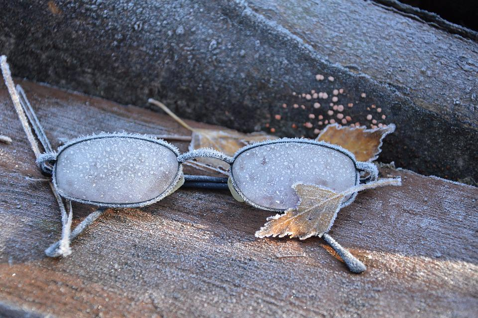 Glasses, Frost, Old, Cold, Sad, Winter, Ice, Snow