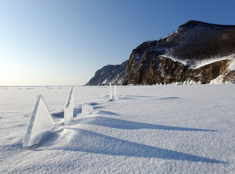 Baikal, Lake, Ice, Winter, Hummocks, Shadow, Rocks