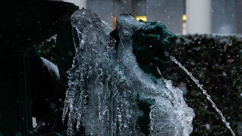 Winter, Fountain, Ice, Snow, Winged, Lion, Hybrid