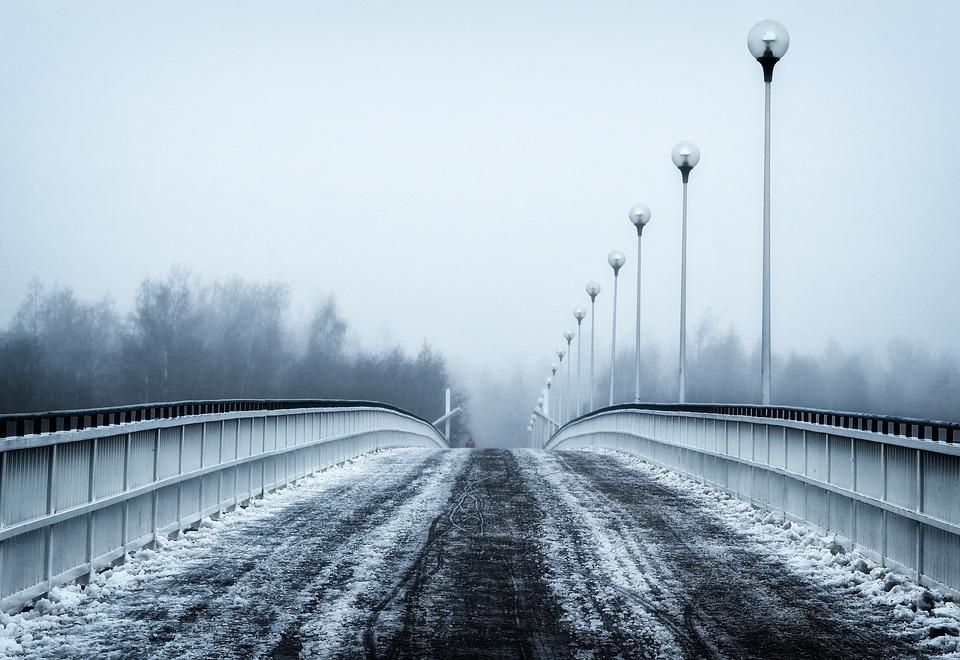 Finland, Bridge, Winter, Snow, Ice, Sky, Trees, Outside