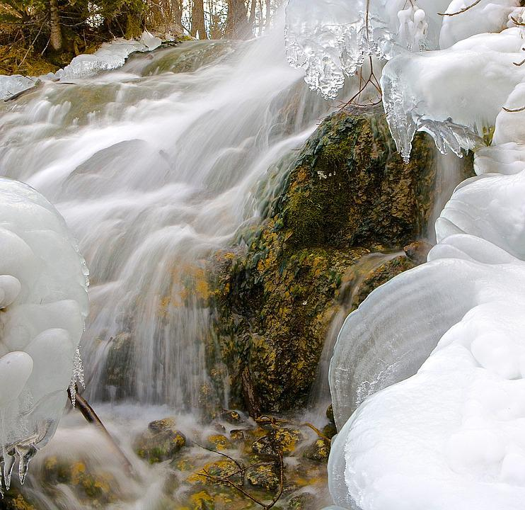 Waterfall, Ice, Winter, Snow, Water, River, Landscape